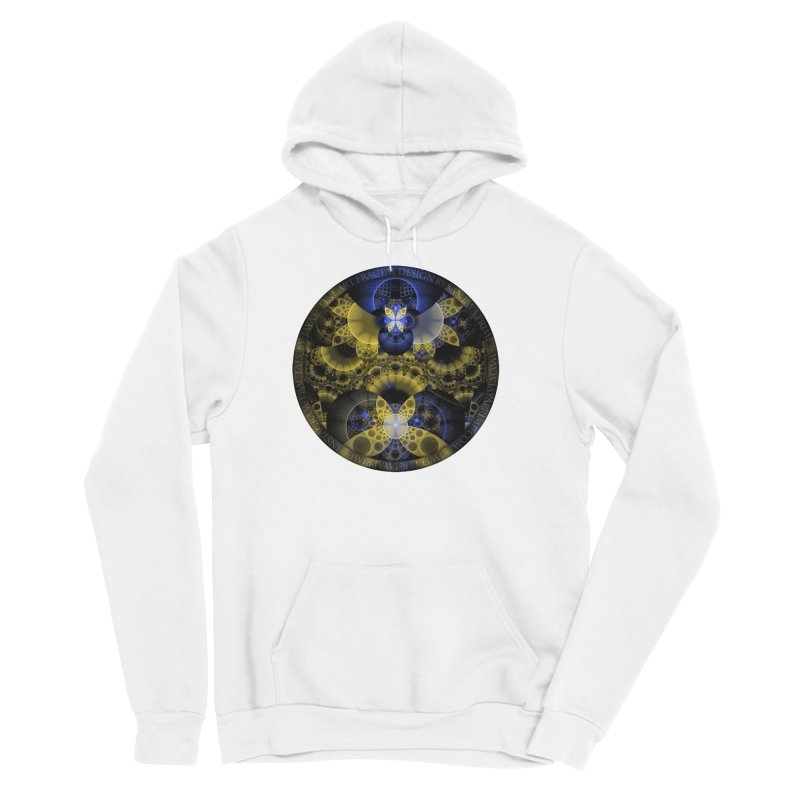 Nexus of Fractal Butterflies Seen Thru Puppy Eyes Men's Sponge Fleece Pullover Hoody by The Fractal Art of San Jaya Prime