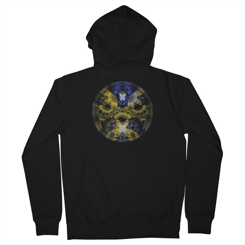 Nexus of Fractal Butterflies Seen Thru Puppy Eyes Women's French Terry Zip-Up Hoody by The Fractal Art of San Jaya Prime