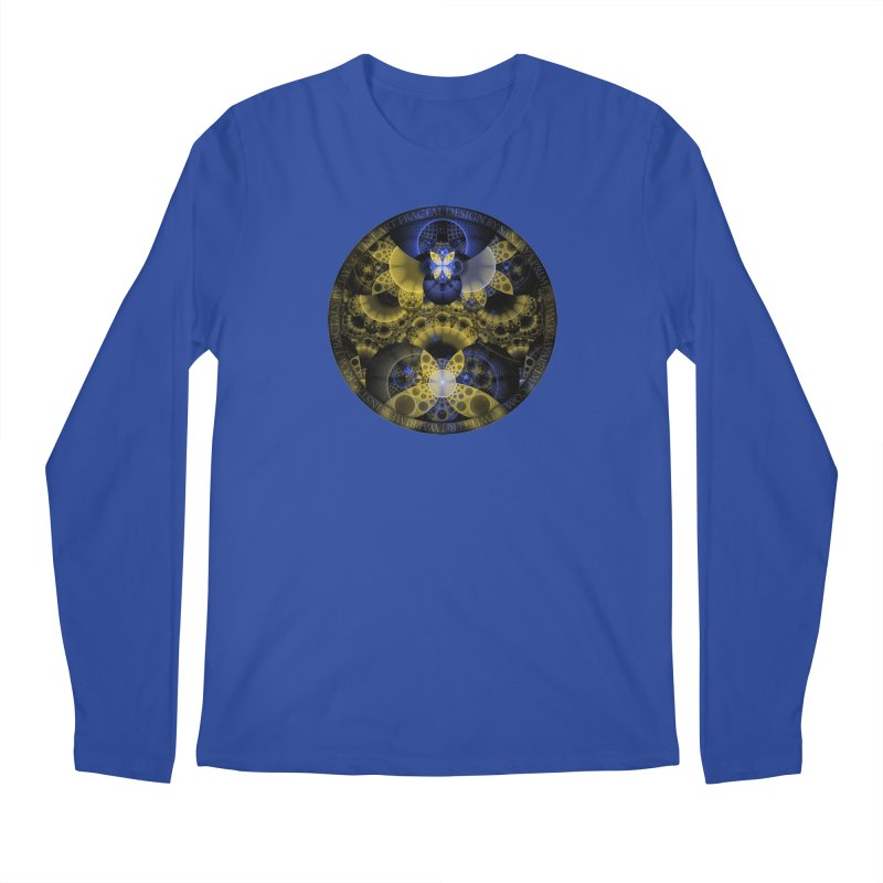 Nexus of Fractal Butterflies Seen Thru Puppy Eyes Men's Regular Longsleeve T-Shirt by The Fractal Art of San Jaya Prime