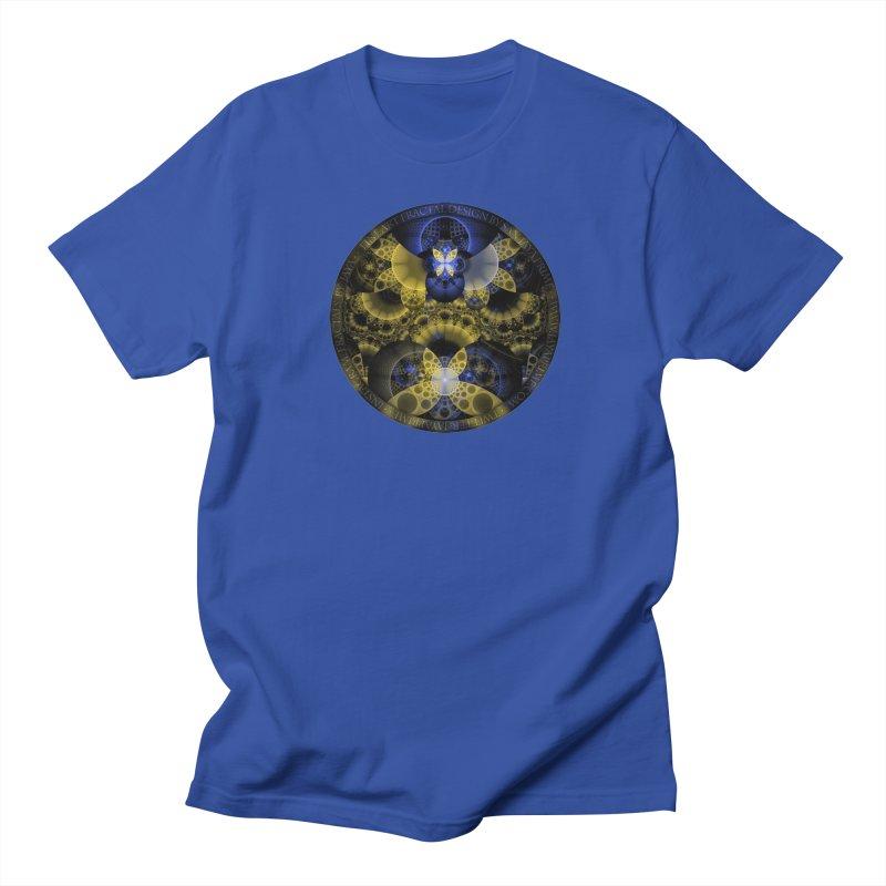 Nexus of Fractal Butterflies Seen Thru Puppy Eyes Men's Regular T-Shirt by The Fractal Art of San Jaya Prime