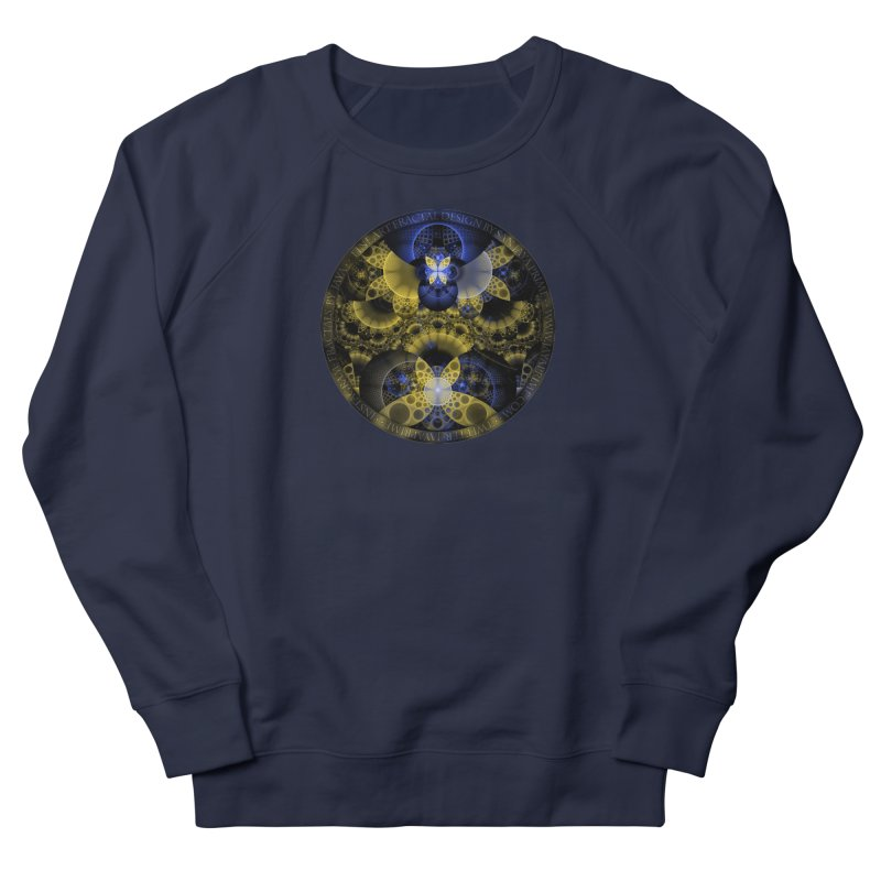 Nexus of Fractal Butterflies Seen Thru Puppy Eyes Men's French Terry Sweatshirt by The Fractal Art of San Jaya Prime