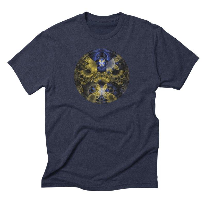 Nexus of Fractal Butterflies Seen Thru Puppy Eyes Men's Triblend T-Shirt by The Fractal Art of San Jaya Prime