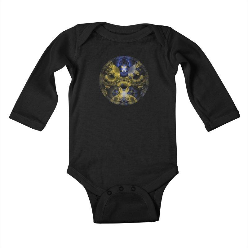 Nexus of Fractal Butterflies Seen Thru Puppy Eyes Kids Baby Longsleeve Bodysuit by The Fractal Art of San Jaya Prime