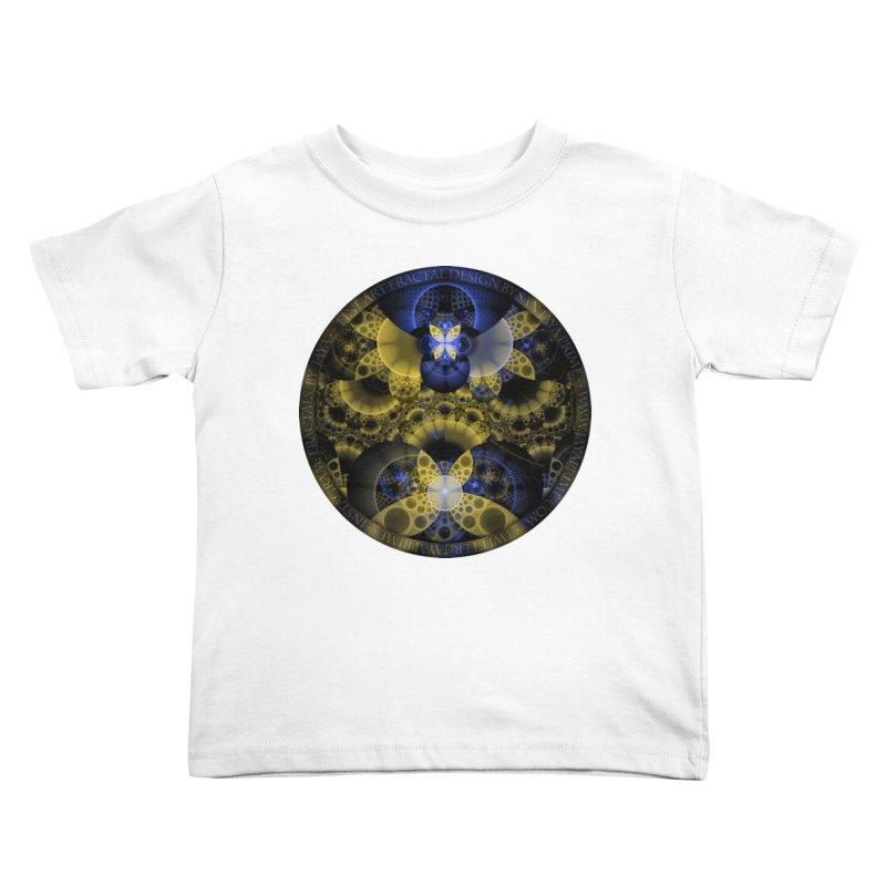 Nexus of Fractal Butterflies Seen Thru Puppy Eyes Kids Toddler T-Shirt by The Fractal Art of San Jaya Prime
