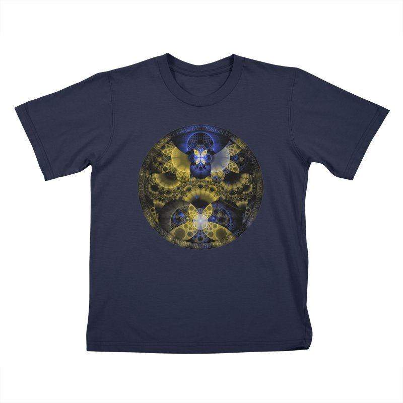 Nexus of Fractal Butterflies Seen Thru Puppy Eyes Kids T-Shirt by The Fractal Art of San Jaya Prime