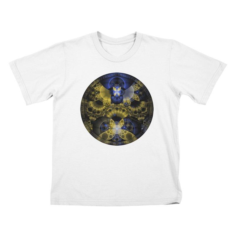 Nexus of Fractal Butterflies Seen Thru Puppy Eyes Kids T-Shirt by The Fractal Art of San Jaya Prime