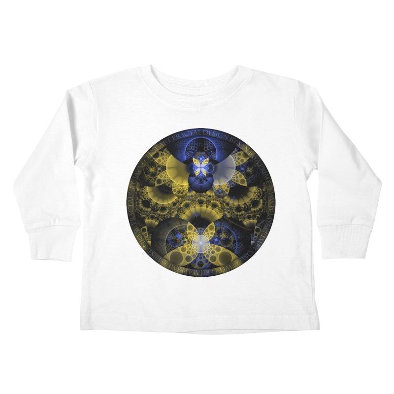 Nexus of Fractal Butterflies Seen Thru Puppy Eyes Kids Toddler Longsleeve T-Shirt by The Fractal Art of San Jaya Prime