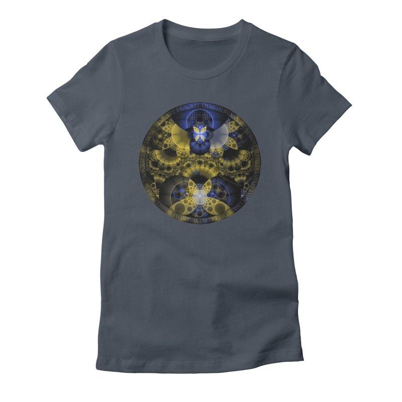 Nexus of Fractal Butterflies Seen Thru Puppy Eyes Women's Fitted T-Shirt by The Fractal Art of San Jaya Prime