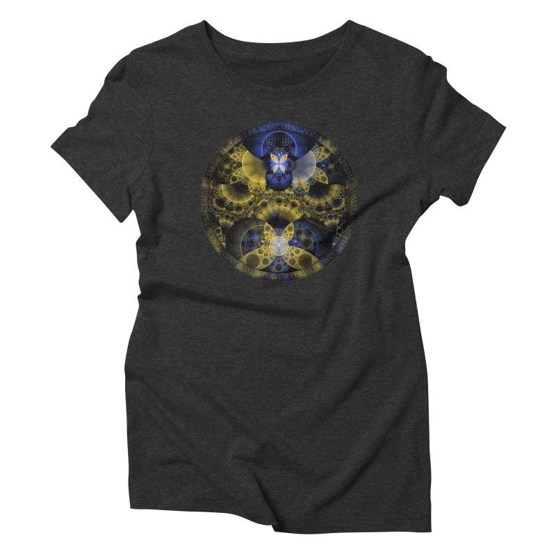 Nexus of Fractal Butterflies Seen Thru Puppy Eyes Women's Triblend T-Shirt by The Fractal Art of San Jaya Prime