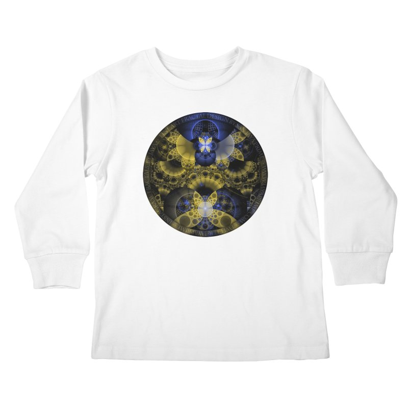 Nexus of Fractal Butterflies Seen Thru Puppy Eyes Kids Longsleeve T-Shirt by The Fractal Art of San Jaya Prime