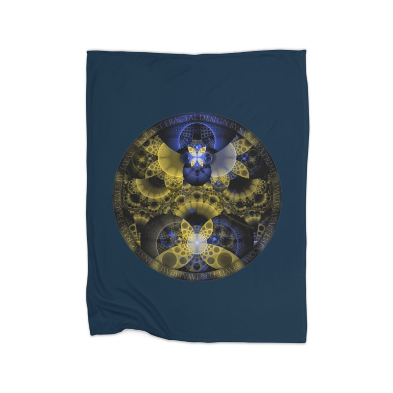 Nexus of Fractal Butterflies Seen Thru Puppy Eyes Home Fleece Blanket Blanket by The Fractal Art of San Jaya Prime