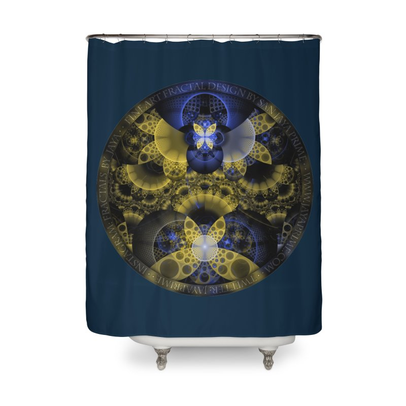 Nexus of Fractal Butterflies Seen Thru Puppy Eyes Home Shower Curtain by The Fractal Art of San Jaya Prime
