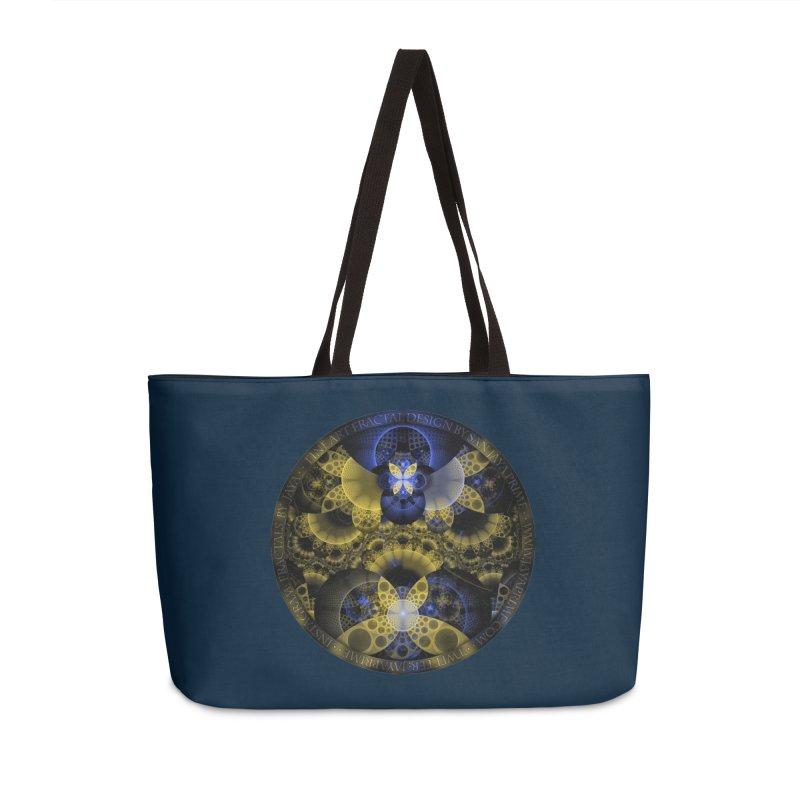 Nexus of Fractal Butterflies Seen Thru Puppy Eyes Accessories Weekender Bag Bag by The Fractal Art of San Jaya Prime