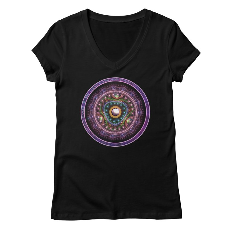 Resplendent Pastel Jewelry in Rainbow Fractals Women's V-Neck by The Fractal Art of San Jaya Prime