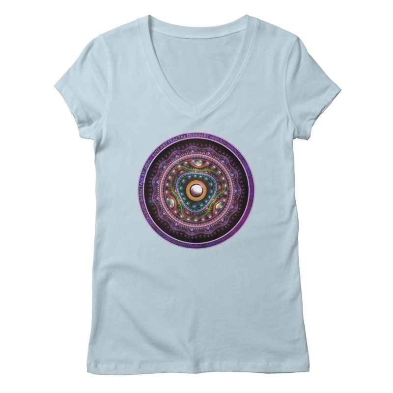 Resplendent Pastel Jewelry in Rainbow Fractals Women's Regular V-Neck by The Fractal Art of San Jaya Prime