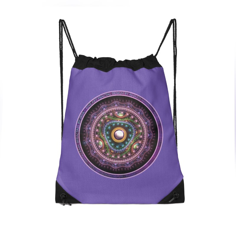 Resplendent Pastel Jewelry in Rainbow Fractals Accessories Drawstring Bag Bag by The Fractal Art of San Jaya Prime