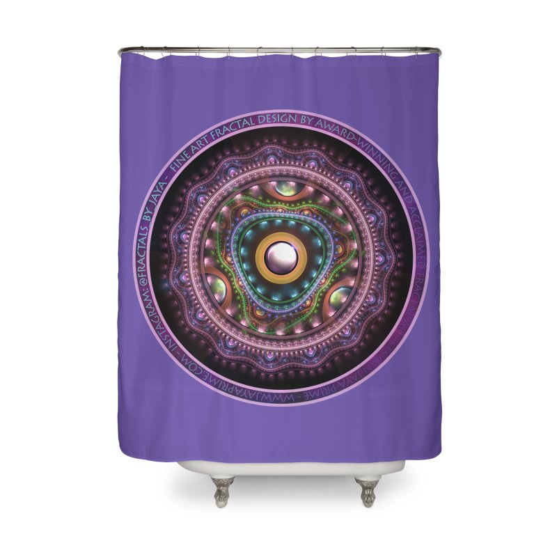 Resplendent Pastel Jewelry in Rainbow Fractals Home Shower Curtain by The Fractal Art of San Jaya Prime