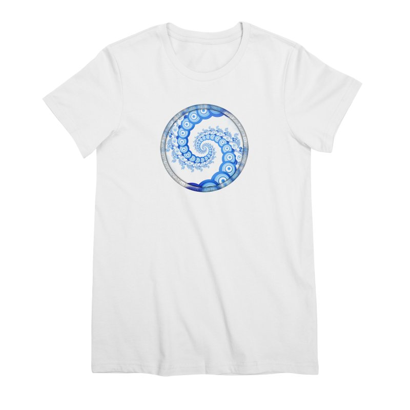 Chinese Sky Blue and Cloud White Tentacle Spiral Women's Premium T-Shirt by The Fractal Art of San Jaya Prime