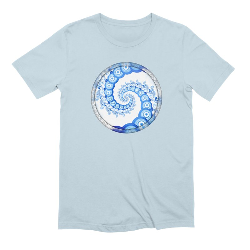 Chinese Sky Blue and Cloud White Tentacle Spiral Men's Extra Soft T-Shirt by The Fractal Art of San Jaya Prime