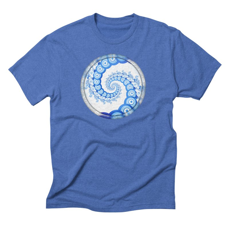 Chinese Sky Blue and Cloud White Tentacle Spiral Men's T-Shirt by The Fractal Art of San Jaya Prime