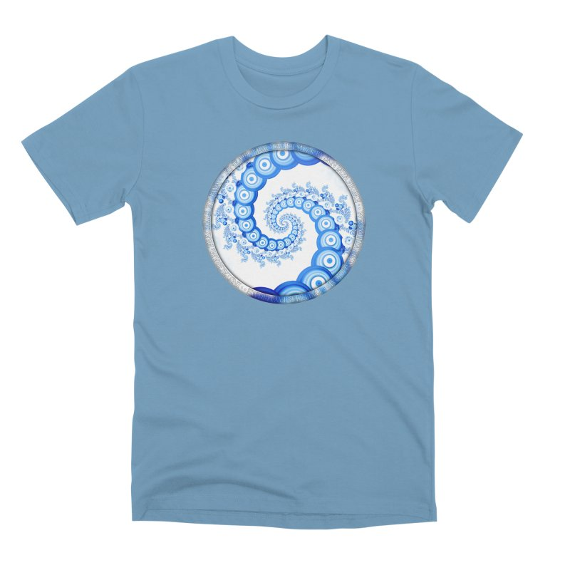 Chinese Sky Blue and Cloud White Tentacle Spiral Men's Premium T-Shirt by The Fractal Art of San Jaya Prime