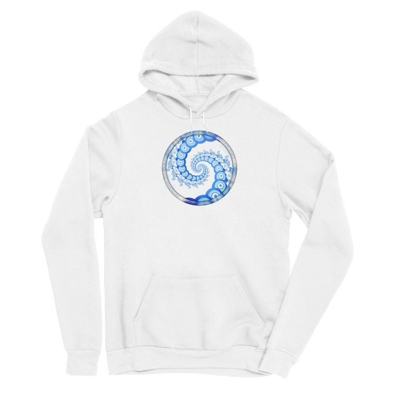 Chinese Sky Blue and Cloud White Tentacle Spiral Men's Pullover Hoody by The Fractal Art of San Jaya Prime