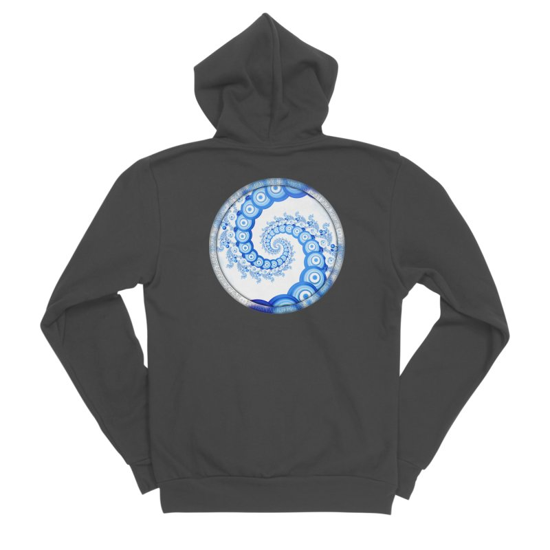Chinese Sky Blue and Cloud White Tentacle Spiral Women's Sponge Fleece Zip-Up Hoody by The Fractal Art of San Jaya Prime