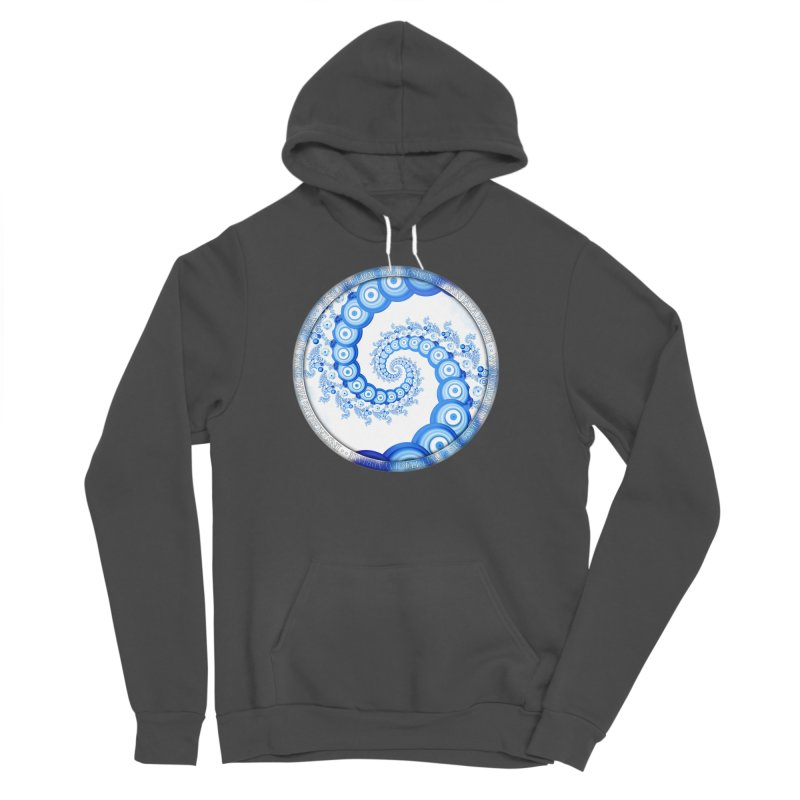 Chinese Sky Blue and Cloud White Tentacle Spiral Women's Sponge Fleece Pullover Hoody by The Fractal Art of San Jaya Prime