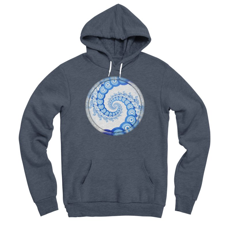 Chinese Sky Blue and Cloud White Tentacle Spiral Men's Sponge Fleece Pullover Hoody by The Fractal Art of San Jaya Prime