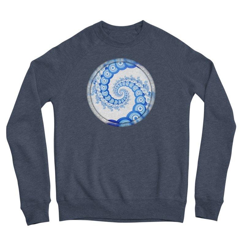 Chinese Sky Blue and Cloud White Tentacle Spiral Men's Sponge Fleece Sweatshirt by The Fractal Art of San Jaya Prime