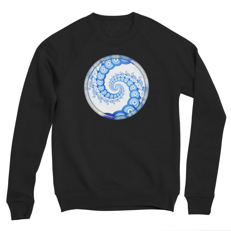 Chinese Sky Blue and Cloud White Tentacle Spiral Women's Sponge Fleece Sweatshirt by The Fractal Art of San Jaya Prime