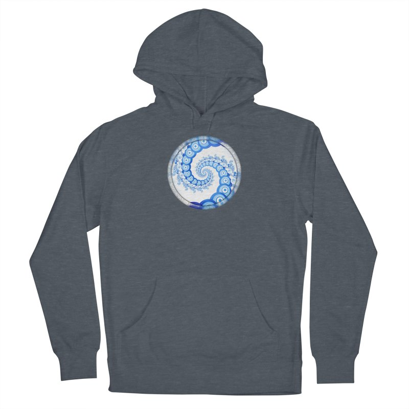Chinese Sky Blue and Cloud White Tentacle Spiral Women's Pullover Hoody by The Fractal Art of San Jaya Prime