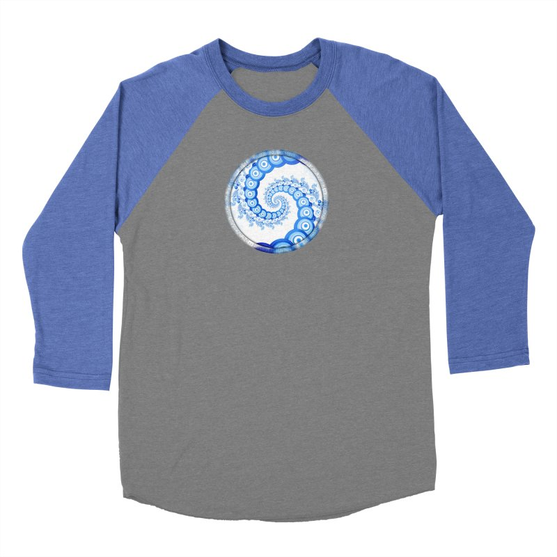 Chinese Sky Blue and Cloud White Tentacle Spiral Women's Longsleeve T-Shirt by The Fractal Art of San Jaya Prime