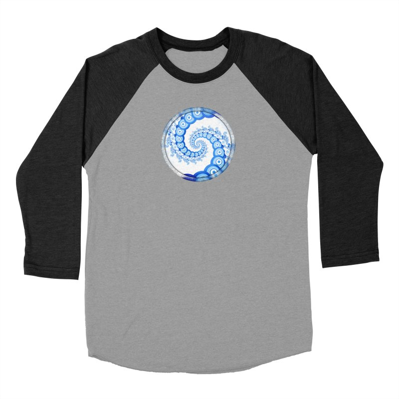 Chinese Sky Blue and Cloud White Tentacle Spiral Men's Longsleeve T-Shirt by The Fractal Art of San Jaya Prime