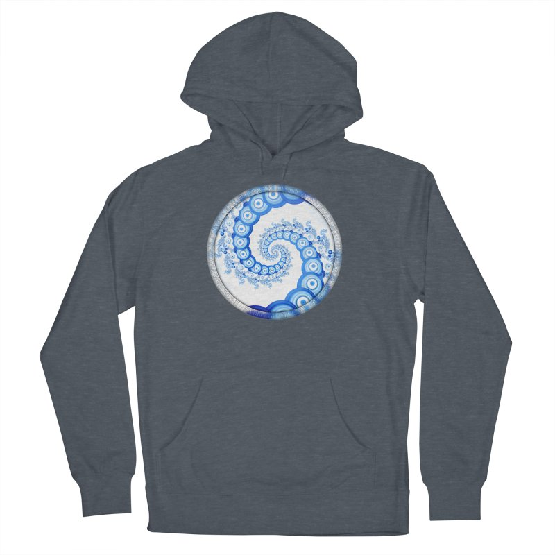 Chinese Sky Blue and Cloud White Tentacle Spiral Women's French Terry Pullover Hoody by The Fractal Art of San Jaya Prime