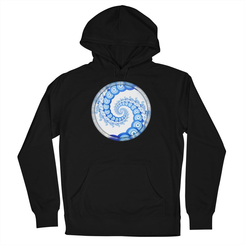 Chinese Sky Blue and Cloud White Tentacle Spiral Men's French Terry Pullover Hoody by The Fractal Art of San Jaya Prime