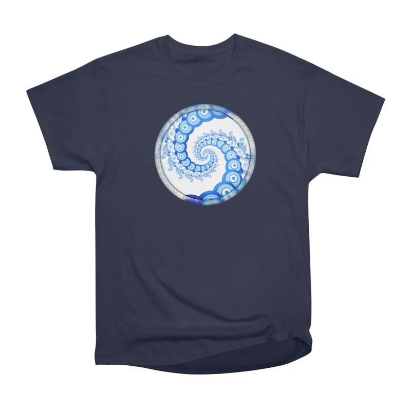 Chinese Sky Blue and Cloud White Tentacle Spiral Men's Heavyweight T-Shirt by The Fractal Art of San Jaya Prime
