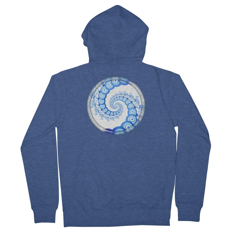 Chinese Sky Blue and Cloud White Tentacle Spiral Women's French Terry Zip-Up Hoody by The Fractal Art of San Jaya Prime