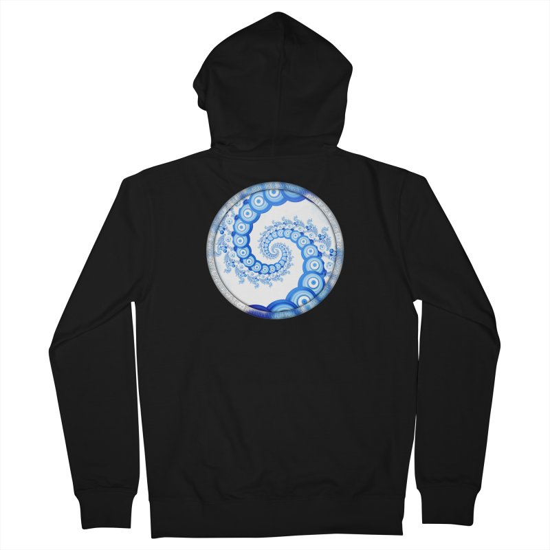 Chinese Sky Blue and Cloud White Tentacle Spiral Men's French Terry Zip-Up Hoody by The Fractal Art of San Jaya Prime