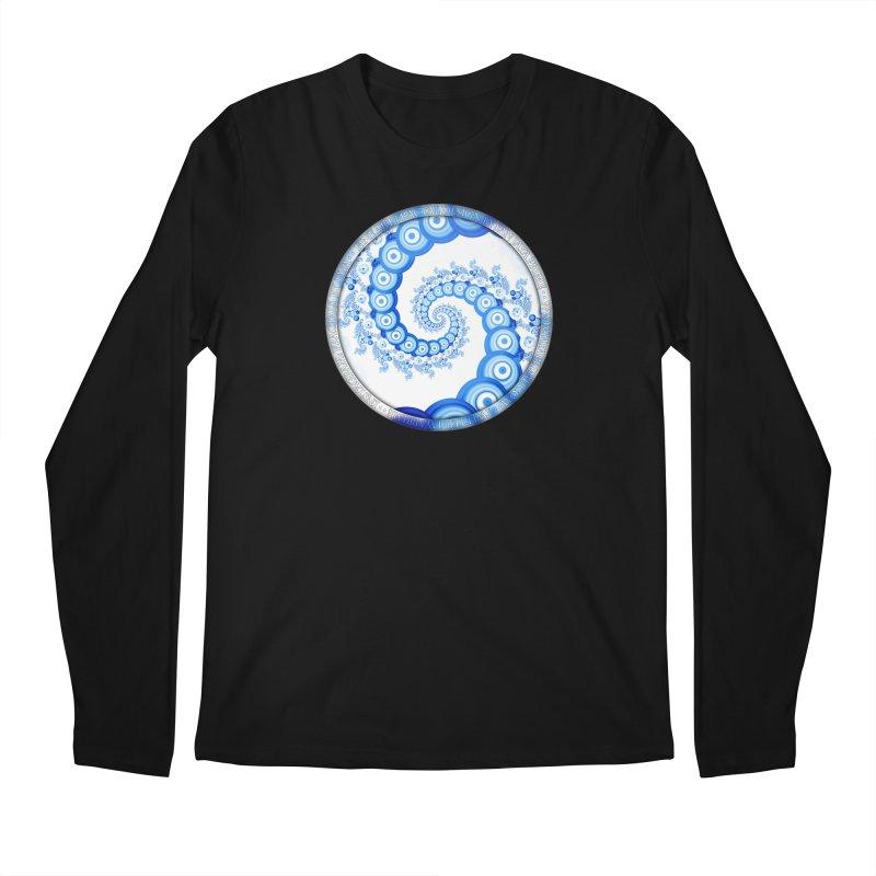 Chinese Sky Blue and Cloud White Tentacle Spiral Men's Regular Longsleeve T-Shirt by The Fractal Art of San Jaya Prime