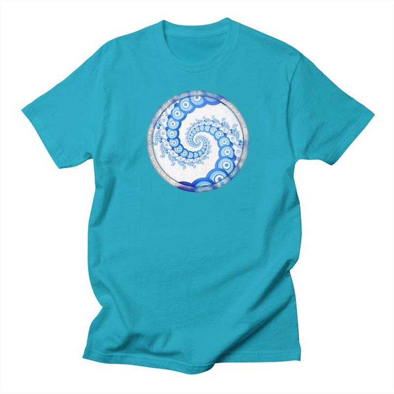 Chinese Sky Blue and Cloud White Tentacle Spiral Men's Regular T-Shirt by The Fractal Art of San Jaya Prime