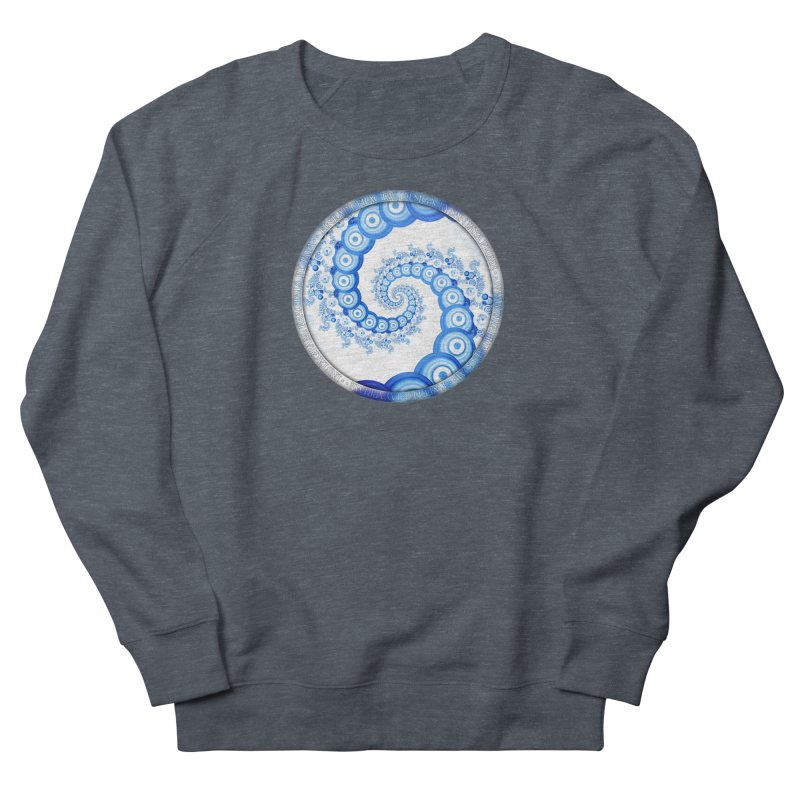 Chinese Sky Blue and Cloud White Tentacle Spiral Women's French Terry Sweatshirt by The Fractal Art of San Jaya Prime