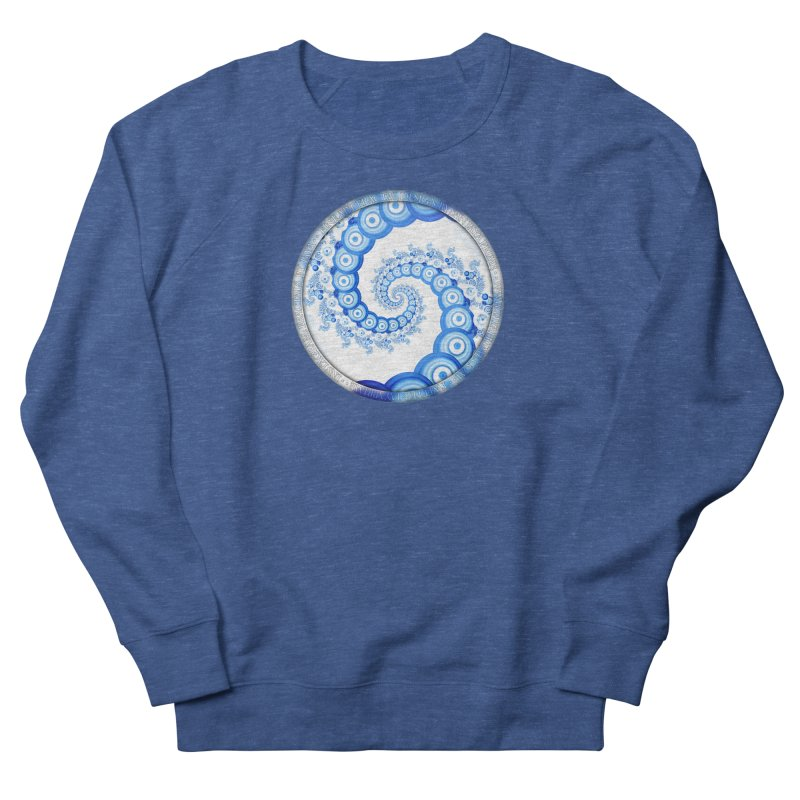 Chinese Sky Blue and Cloud White Tentacle Spiral Men's French Terry Sweatshirt by The Fractal Art of San Jaya Prime