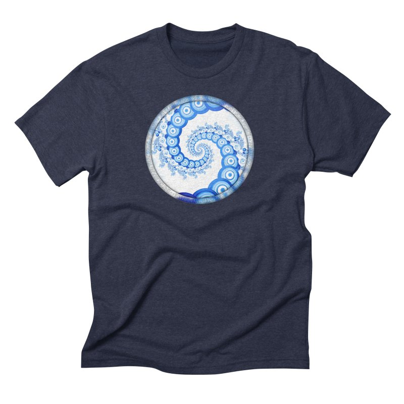 Chinese Sky Blue and Cloud White Tentacle Spiral Men's Triblend T-Shirt by The Fractal Art of San Jaya Prime