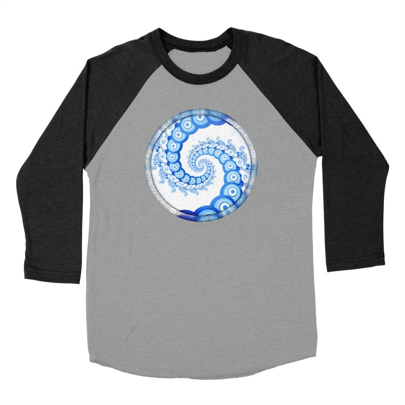Chinese Sky Blue and Cloud White Tentacle Spiral Women's Baseball Triblend Longsleeve T-Shirt by The Fractal Art of San Jaya Prime