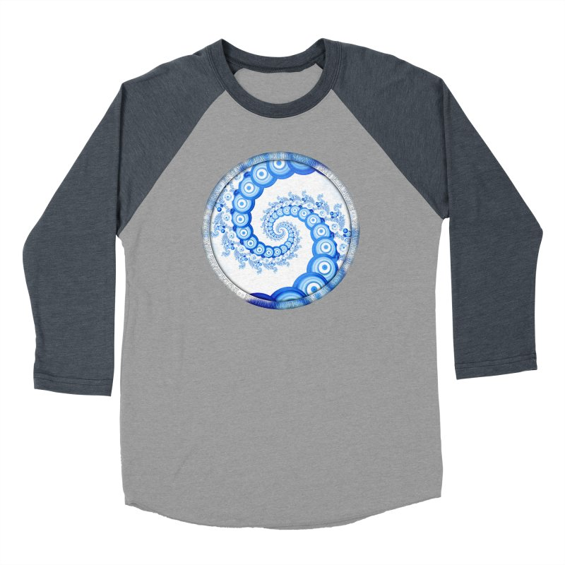 Chinese Sky Blue and Cloud White Tentacle Spiral Men's Baseball Triblend Longsleeve T-Shirt by The Fractal Art of San Jaya Prime