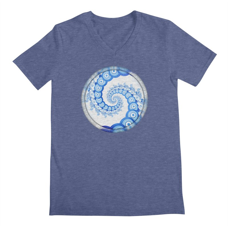 Chinese Sky Blue and Cloud White Tentacle Spiral Men's Regular V-Neck by The Fractal Art of San Jaya Prime
