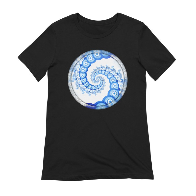 Chinese Sky Blue and Cloud White Tentacle Spiral Women's T-Shirt by The Fractal Art of San Jaya Prime