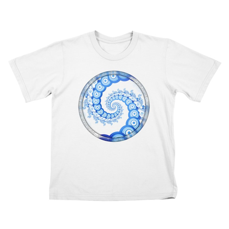 Chinese Sky Blue and Cloud White Tentacle Spiral Kids T-Shirt by The Fractal Art of San Jaya Prime