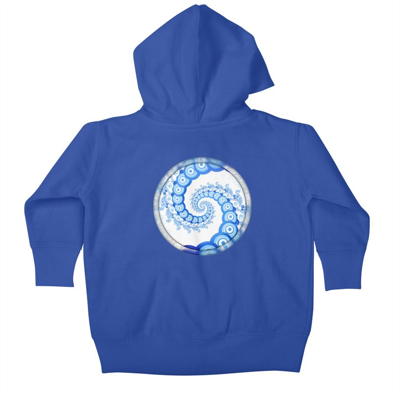 Chinese Sky Blue and Cloud White Tentacle Spiral Kids Baby Zip-Up Hoody by The Fractal Art of San Jaya Prime